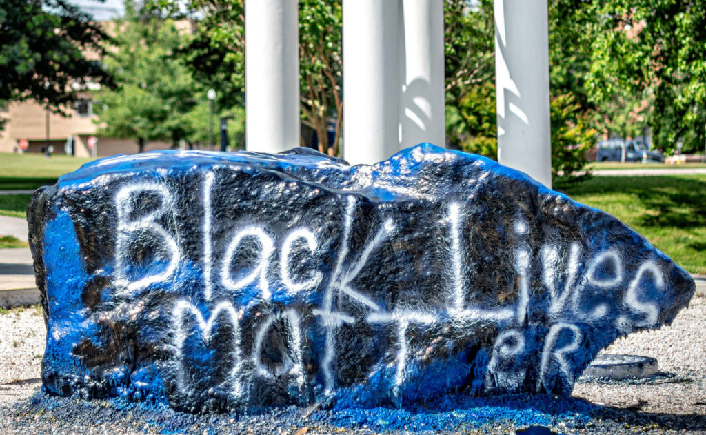 """The Rawk at UNCG with a student painted """"Black Lives Matter"""" message on it."""